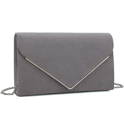 Charming Tailor Faux Suede Clutch Bag Elegant Metal Binding Evening Purse for Wedding/Prom/Black-Tie Events (Grey)