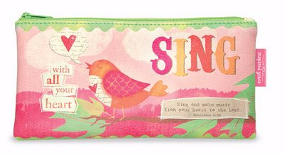 Sing With All Your Heart Ephesians 5:19 Fabric Print Zipper Pouch ()