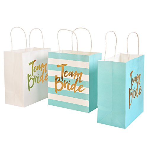 Embossed Favor Bags (Ling's moment Set of 12 Blue White Mixed Bridal Bachelorette Party Bridesmaid Gift Bags - Rose Gold Foil