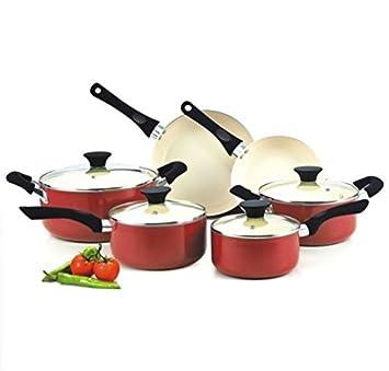 Batería de cocina (Juego de ollas y sartenes antiadherente revestimiento de cerámica juego de cocina cocina: Amazon.es: Hogar