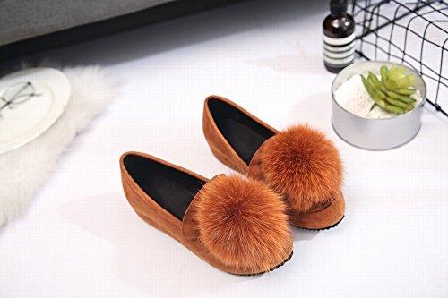 Zapatos Mujer Zapatos Peluda roble de de el caramelo de Guisantes Peluca Boca Aumentan Zapatos con de Baja Trabajo Zapatos EUR34 en de de Mujer PqzcwF5Rp