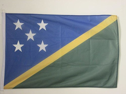 AZ FLAG SOLOMON FLAG 2' x 3' for outdoor - SOLOMON ISLANDER FLAGS 90 x 60 cm - BANNER 2x3 ft Knitted Polyester with rings Solomon Islands Flag