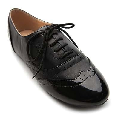 Ollio Women's Shoe Classic Lace Up Dress Low Flat Heel Oxford M1914(6 B(M) US, Black-Black)