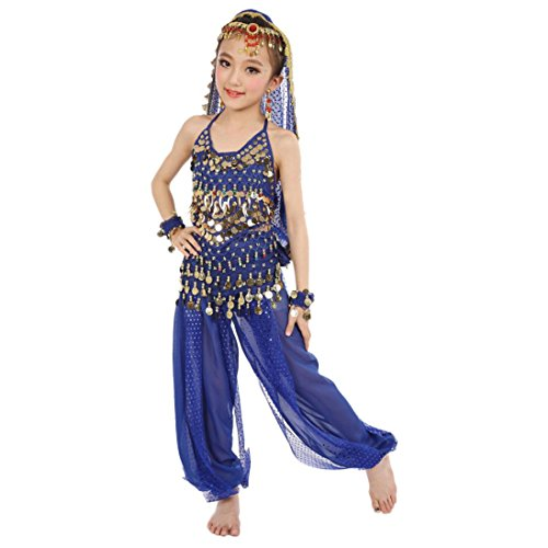 Voberry® Kids Belly Dance Costumes Dangling Gold Coins Hip Scarf Indian Dancing Performance Suit (S, Blue)