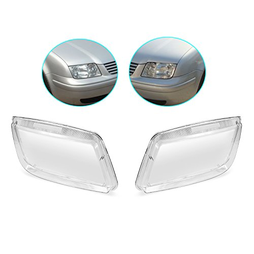 LOOYUAN Set of Headlight Lenses Replacement fit for VW Bora Jetta MK4