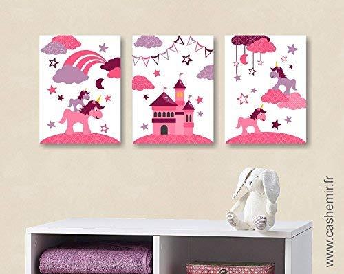 Affiche bébé, décoration chambre bébé fille, illustration ...