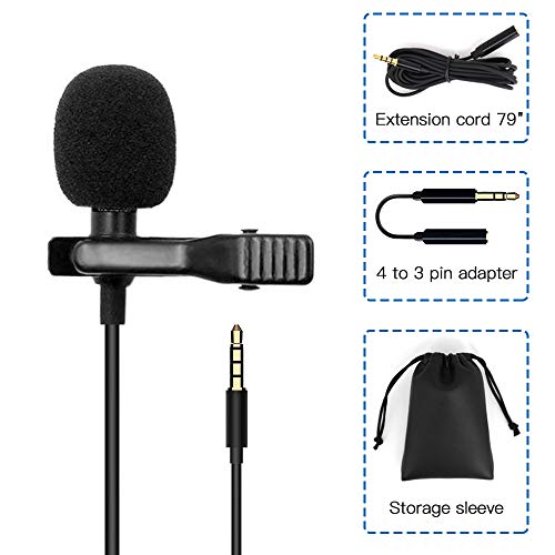 Lavalier Lapel Microphone Set with Shock Mount Universal Video Microphone for iPhone, iPad, iPod Touch, Android-Omnidirectional Mic Perfect for YouTube, Interview, Podcast