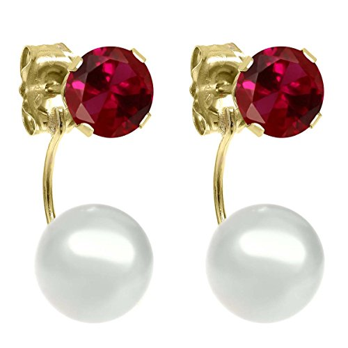 1.20ctw Round 5mm Red Created Ruby 14K Yellow Gold Stud Pearl - Ruby Gold 14k Pearl