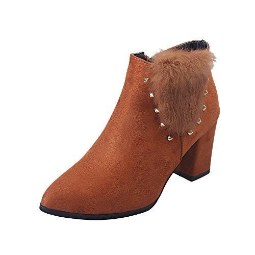 Sonnena Damen Sexy High Heels Stiefel Casual Spitz Toe Stiefeletten Booties Schnalle Platform Schuhe Bequem Slope Martin Stiefel Vintage Niedrige Schlauchstiefel Frauen Boots 35-39 Bruwn