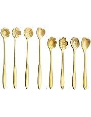 8 Pcs Coffee Spoon Stainless Steel Spoon - Creative Tableware Dessert Spoons, Stirring/Sugar/Ice Cream/Cake/Teaspoon Sets (Flower & Love Pattern)