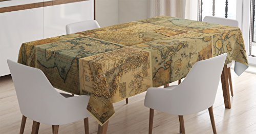 Ambesonne Wanderlust Decor Tablecloth, Collage with Antique Old World Maps Vintage Style Ancient Collection of Civilization Print, Rectangular Table Cover for Dining Room Kitchen, 52x70 Inches, Multi