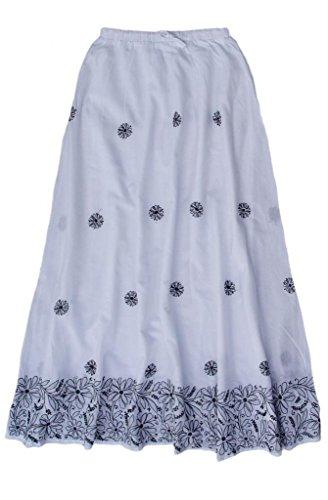 Cotton Embroidered Skirt: Black Border Emb on White: -