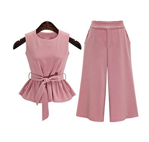 YUNSHANG Women Elegant Round Neck Sleeveless Topswith Waistbelt Fashionable High Waist Wide Leg Pants 2 Pieces Set (Waist Wide Leg Pants)