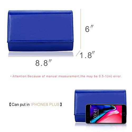 Women Royalblue Bag WALLYN'S Solid Purses Handbag Color Leather Evening Clutch New Wallets Patent Fashion rqFxBrZ