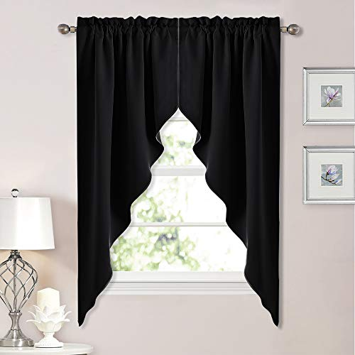 NICETOWN Blackout Window Treatment Kitchen Tier Curtains- Tailored Scalloped Valance/Swags (2 Panels, 36