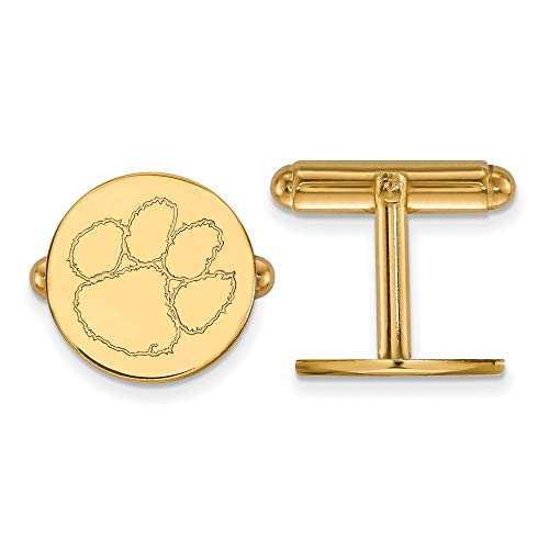 (Roy Rose Jewelry Sterling Silver with 14K Yellow Gold-plated LogoArt Clemson University Cuff Links)