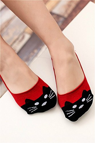 Generic Three pairs of cute cat animal series bears the new stealth boat socks shallow mouth cotton socks Ms. hundred towers by Generic