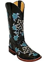 Ferrini Ladies Floral Cross Stud Blue Black Square Toe, 10 B
