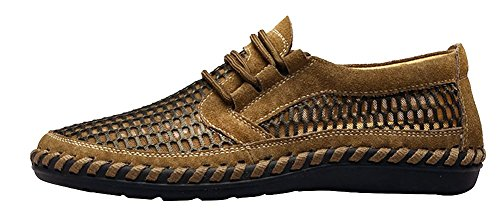 LOUECHY Mens notus Mesh Walking Loafers Breathable Hiking Shoes Flat Casual Shoes Tan g02G4FRcph