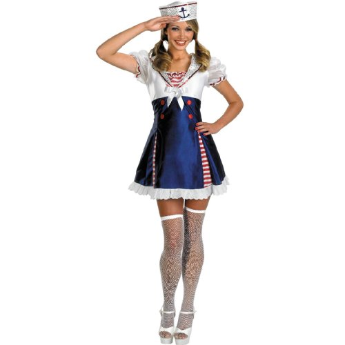 Ahoy Matey Adult Costumes (Disguise Unisex Adult Ahoy Matey, Red/White/Blue, Large (12-14) Costume)