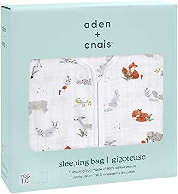 Breathable /& Lightweight 100/% Cotton Muslin Naturally Eco Forest 6-12 Months aden Medium TOG Rating 1.0 anais Baby Sleeping Bag Wearable Swaddle Blanket for Girls /& Boys Newborn Sleep Sack