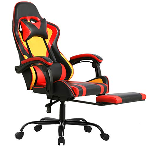 - Gaming Office Racing Chair Desk Computer Ergonomic Swivel Chair with Back Support for Video Game with Footrest Lumbar and Head Support