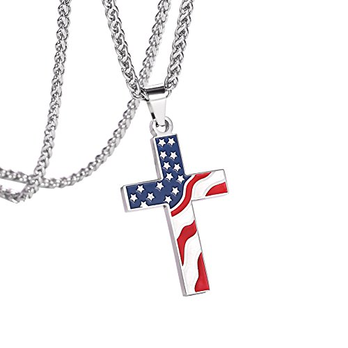 JDXN Flag Day Gift Stainless Steel American USA Flag Cross Religious Pendant Necklace Jewelry for Men (Style 1)