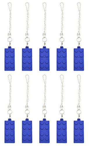 FEBNISCTE 10pcs Blue 4GB Cartoon Building Block Shape USB 2.0 Flash Drive with Key Chain by FEBNISCTE