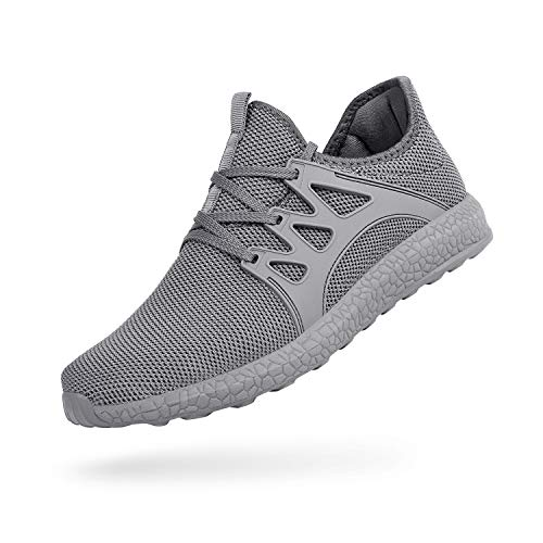 QANSI Men's Casual Shoes Fashion Sneakers Fly Knittted Flexible Athletic Sports Running Gym Shoes Gray Size 10.5
