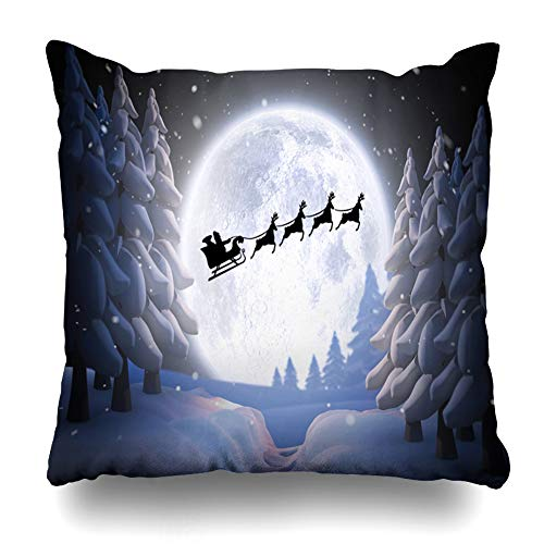 Ahawoso Throw Pillow Cover Cold Santa Claus Reindeer Against Winter Graphic Abstract Christmas Colourful Created Digital Design Home Decor Zippered Pillowcase Square Size 18 x 18 Inches Cushion Case ()