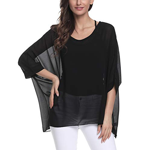(Myosotis510 Women's Chiffon Caftan Poncho Tunic Top Cover up Batwing Blouse (Z-4305))
