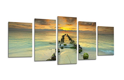Sweety Decor Modern Giclee Sunrise Artwork Beach Seascape Paintings Pictures Canvas Prints in 5 Panels set Wood Framed