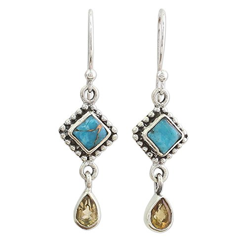 NOVICA Multi-Gem Citrine .925 Sterling Silver Dangle Earrings 'Radiant Princess'