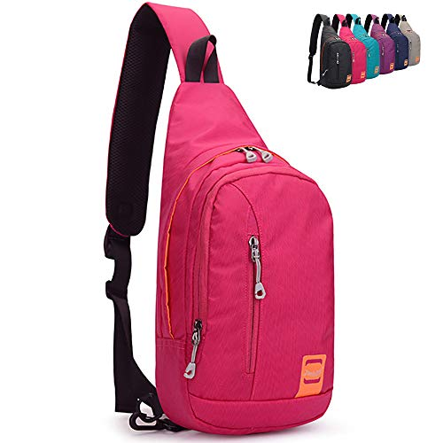 Peicees Small Outdoor Chest Sling Shoulder Bag, Waterproof Lightweight Nylon, Gym Bike Running Crossbody Daypack, Hiking Cycling Camping Travel Sling Backpack for Men and Women College Teen Boys Girls