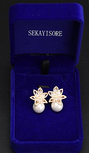 Opal Pearl Stud Earrings or Clip On Dangle Drop Earrings, Charm Jewelry Love Gift For Women Girls by SEKAYISORE (Image #6)