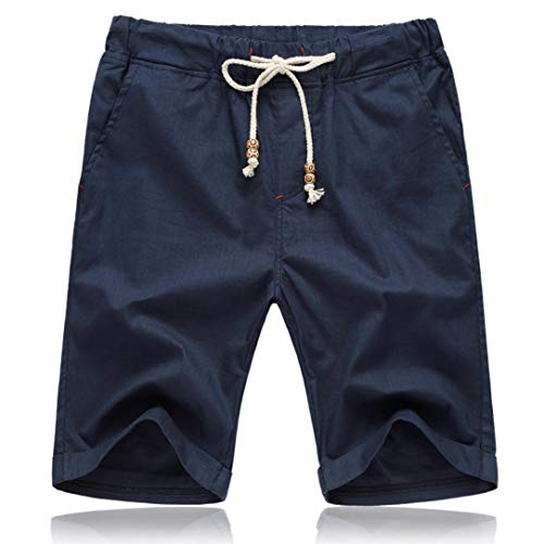 - iLXHD Men Summer Linen Cotton Solid Beach Casual Elastic Waist Classic Fit Shorts casual pants (Navy,5XL)