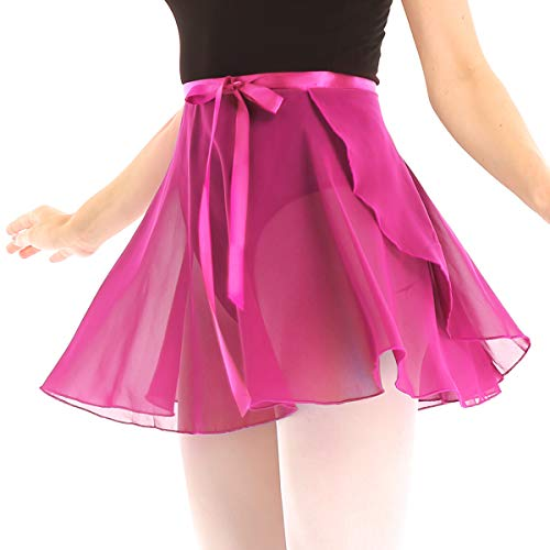 - ACSUSS Women Adult Chiffon Ballet Wrap Over Scarf Dance Skirt with Tie Waist Rose X-Large