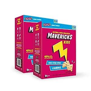 Mavericks Kids Snacks, Chocolate Chip Cookies, Healthy Low Sugar, Vegan Snack Box, 25g, 8 Count (Pack of 2)