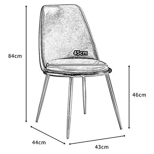 KOOU Matstolar, PU-läder och robust smidesjärn ben vardagsrum hörnstolar, för sovrum/klädning/mottagning fritidsstol, ljusgrå