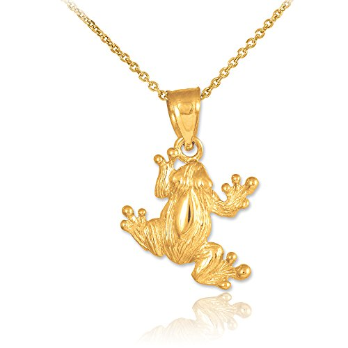 14k Gold Frog Charm Pendant Necklace, 22