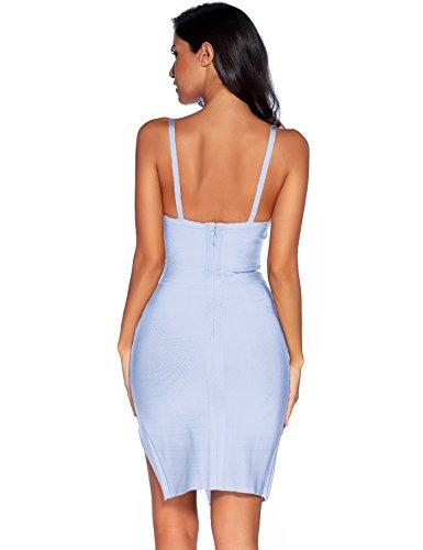 Blue Neck Strappy Splitting V Ice Club Meilun Deep Bandage Party Dress Womens gxqRwIPtA