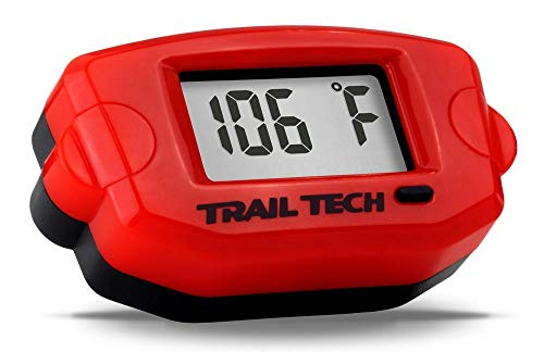 (Trail Tech 744-ET3 Red TTO Digital Temperature Gauge, Surface Mount, 14mm Spark Plug Sensor)
