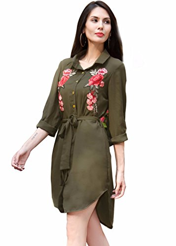 Mujeres Chiffon Sheer Collared Long Sleeve Camiseta de manga corta ejercito verde