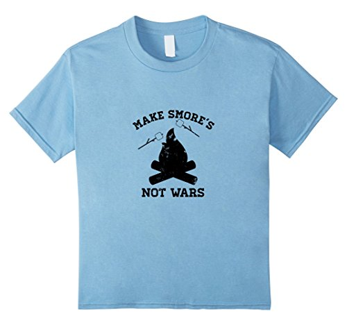 Peace Not War Vintage T-shirt (Kids Distressed Make Smore's Not Wars Vintage Camping T-Shirt 10 Baby Blue)