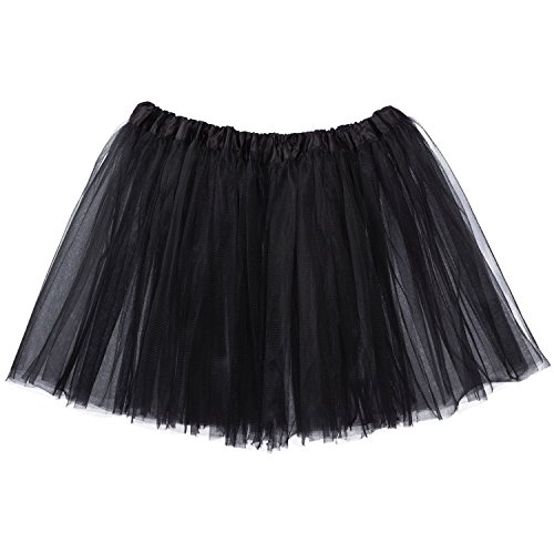 My Lello Adult Tutu Skirt, Classic Elastic 3 Layer Tulle Tutu for Women and Teens - Black]()