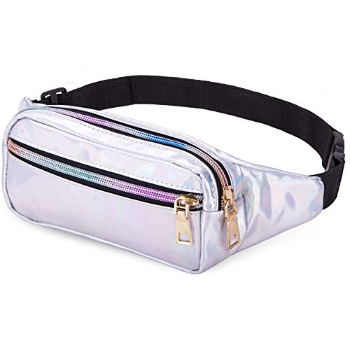 Party Fanny Pack (Bwiv Fanny Pack Waist Bags for Women Shiny Holographic Waist Bum Bag Waterproof for Festival Party Travel Rave Hiking)