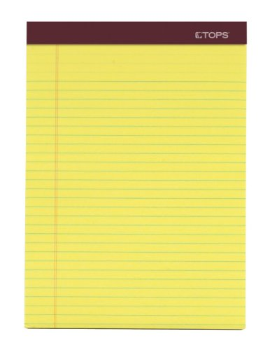 TOPS Double Docket Gold Writing Tablet, 8-1/2 x 11-3/4 Inches, Perforated, Canary, Legal/Wide Rule, 100 Sheets per Pad, 2 Pads per Pack (63997) by Tops