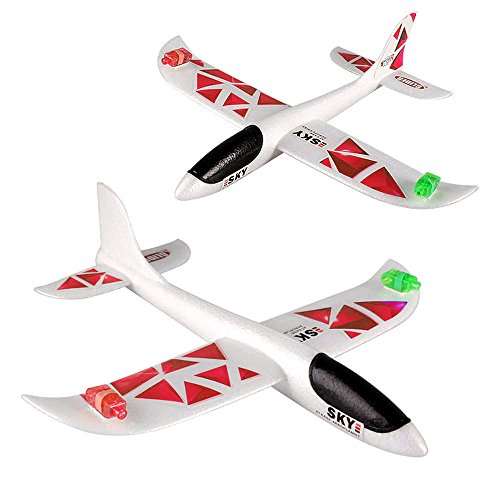 1 PCS Foam Throwing Glider Inertia Led Night Aircraft Toys Hand Launch Airplane Model Children Kids Boy Toy Gift 2019 New (Pink) -
