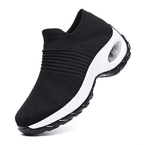 Littleplum Slip On Breathe Mesh Walking Shoes Women Sneakers Nursing Shoes Comfort Wedge Tennis Platform Loafers Black White