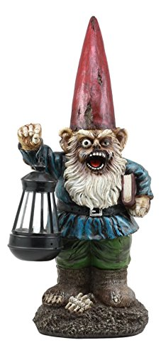 Ebros Walking Dead Zombie Gnome Carrying Lantern Garden Light Statue 17